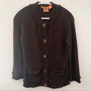 Tory Burch Brown Knit Cardigan Size Small